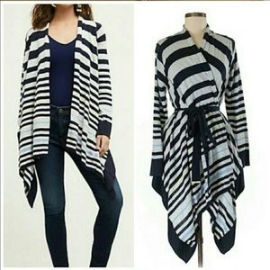 Anthropologie | Moth Stripped Tie Cardigan Sz L